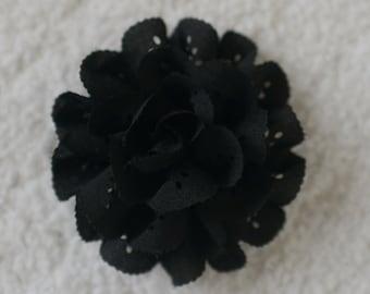 "3"" Eyelet Flower Heads, Wholesale, Flower Headband Baby, Lot of 1, 2, 5 or 10, Black"
