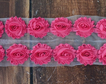 "2.5"" Shabby Chiffon Flower Trim by the Yard, Flowers for Shabby Chiffon Flower Headbands, By the yard, 1/2 yard or 2 flowers, Hot Pink"