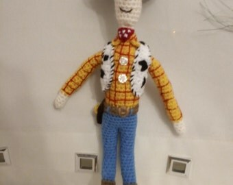 Crocheted sheriff inspired by Woody from toy story by Liz