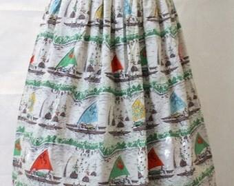 "Novelty Print Vintage Skirt - Sail Boats 30""W"
