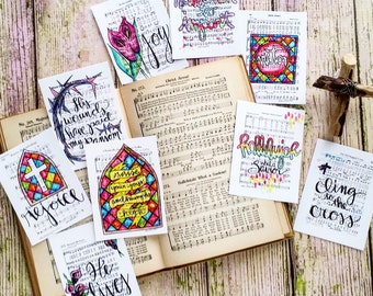 Christian Journaling Cards 3x4 Easter Holy Week Lent Pocket Pages Letters Print Hymn Fine Art Hymnal Project Watercolor Sheet Music Life