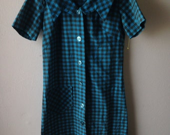 Vintage 1970's Gringham Button Down Day Dress