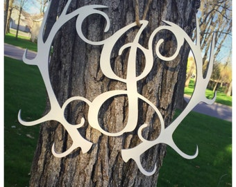 Deer Hunting Custom Monogram Deer Antler Door Wall Hanging Decor