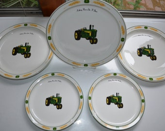 Vintage John Deere Tractor Plates - SET of 5 - 3 Dinner Plates  & 2 Salad Plates - Gibson Licensed Product - Tractor Wheat Pattern