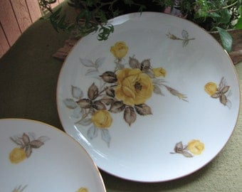 Vintage Cotillion Dinner Plates Dinnerware by Sango Yellow Roses 1950s Set of Four (4) Mid Century Sets Made in Japan Gold Trimmed