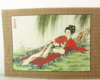 Oriental Placemat Vintage Vinyl Place Mat Japanese Chinese Geisha Girl on Oriental Rug Oriental Market Place 1970s