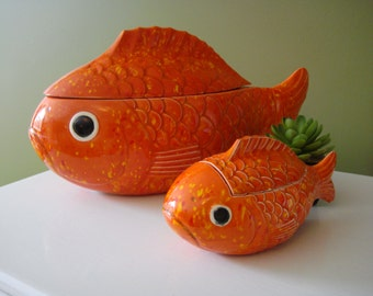 Vintage Fish Covered Dishes - Chip and Dip - Ceramic Fish Bowls - 1970