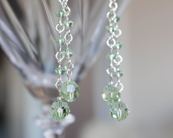 Green glass earrings, long dangle earrings, faceted glass beads, silver plated hooks
