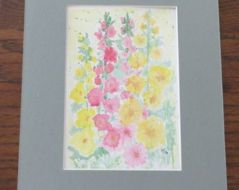 New-Original Watercolor painting of Hollyhocks-free shipping USA
