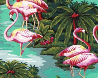 Tropical Pink Flamingos Quilt Fabric Hawaiian Tropical Flowers Hoffman High Quality Cotton