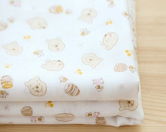 Winnie The Pooh Pattern Double Cotton Gauze Fabric by Yard
