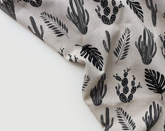 Simple Plants Pattern Linen Blended Fabric by Yard