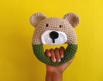 Teddy Bear Baby Rattle, Crochet baby rattle, Baby rattle, Baby clutch toy