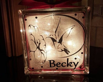 Hummingbird Home decor Custom 8 x 8 Lighted Glass Block.  Themed and personalized to suit.