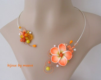 costume jewelry necklace orange and yellow frangipani flower