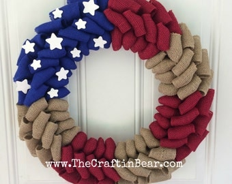 American flag burlap wreath - Patriotic wreath - Stars and Stripes - 4th of July wreath - American wreath - 4th of July decor - Americana