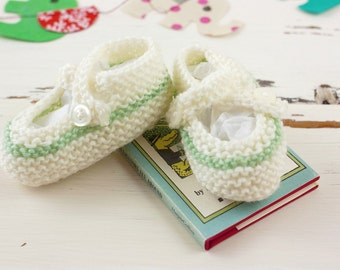 cutest baby booties // hand-knit // white with mint stripe
