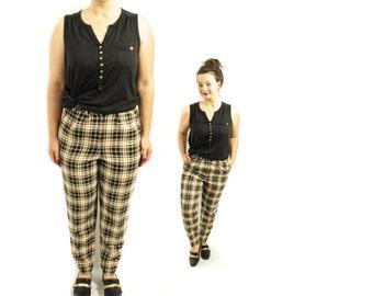Beige plaid pants | Etsy