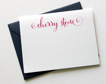 Name Note Cards with Envelopes - 12pk, Personalized Flat Note Cards with Envelopes (NC19)