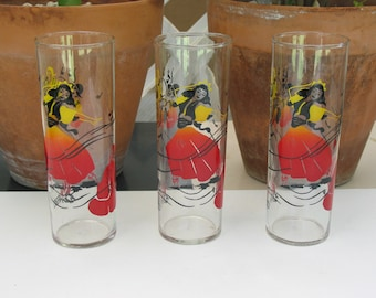Beautiful Vintage Federal Glass Co. Beverage Glasses Set of Three