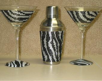 Vintage Zebra Design Martini Set