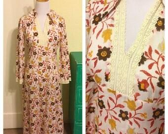 Vintage 70's Cotton Dress. Vintage Long Sleeve Cotton Boho Dress. 70's Floral Print Boho Dress.