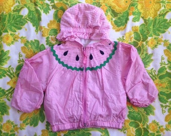 Vintage Pink Watermelon Windbreaker Jacket. Cute Watermelon Spring Coat. Watermelon Spring Jacket. Vintage Samara Fruit Jacket. 3-4T