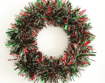 Red Green and Silver Christmas Wreath Winter Wreath Tinsel Holiday Wreath Trendy Christmas Wreath Wedding Decoration Vintage Wreath