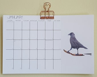 A Unique Small 12 month Hanging Calendar, with watercolored animals
