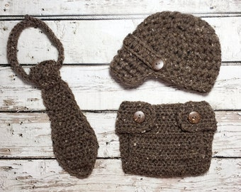 Ready Ship! Newborn / 0-3M Baby Boy Photo Prop Handmade Crochet Diaper Cover, Crochet Diaper Cover Hat and Tie Set * Barley