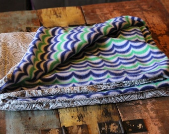 Bandana Quilt-Grey and white, Blue and Green Handmade Blanket- Throw