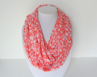 Coral Infinity Scarf, Summer Infinity Scarf,  Orange Pink Scarf, Bright Infinity Scarf, Floral Accessory