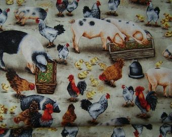 Pigs & Chickens Cotton Fabric Sold by the Yard
