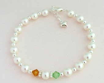 Beautiful White Pearl Bracelet with Bride and Groom's Birthstones.