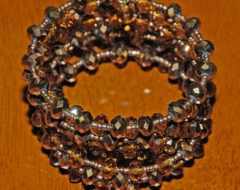 Impressive Wide Shades of Copper Brown Crystal Memory Wire Coil Cuff Bracelet