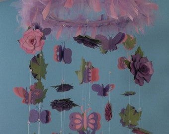 Mobile/ Flowers mobile/ 3d flower-butterflies mobile/baby room decoration/ girl room decoration