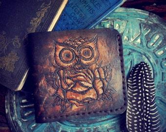Owl Handmade Leather Wallet Men Womens Wallet Women Leather Bifold Wallet Mens Bifold Wallet Mens Wallet Bifold Leather Wallet