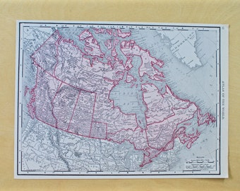1913 - Canada Map - Large Antique Map - Beautiful Old Map of Canada - Large Vintage Map - Colorful Atlas Map - Gift - Home Decor