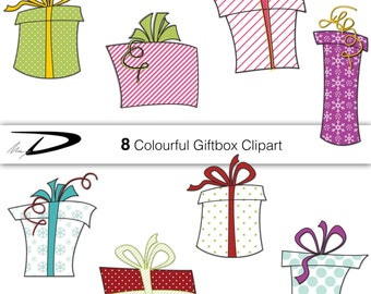 Christmas cute Clip Art, PRESENTS Digital Clipart GIFTS Clip Art, Birthday clipart, Cute Digital Clipart for Commercial and Personal Use