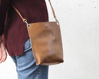 "Small Brown Bag, Small Minimalist Bag ""Monica Choco"", Brown Leather Crossbody, Brown Handbag, Leather Cross Body Purse, Brown Purse"