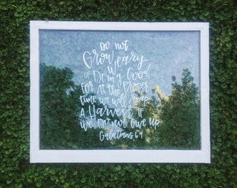 Custom hand lettered window frame