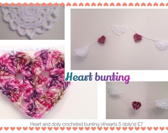 Heart and doily bunting