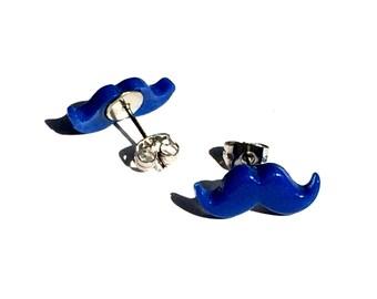 NICKEL FREE Blue Mustache Studded Earrings for Sensitive Ears