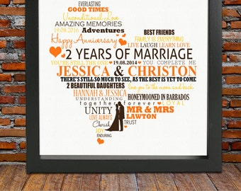 2nd wedding anniversary - 2nd wedding anniversary gift, 2 year anniversary, 2nd anniversary gift, 2nd anniversary gift for her