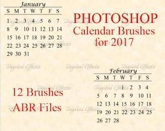 PHOTOSHOP BRUSHES, 2017 Calendar Brush Set, DiY Calendars, Digital Calendar, Photoshop Brushes ABR Files, Digital Calendar Months Stamps