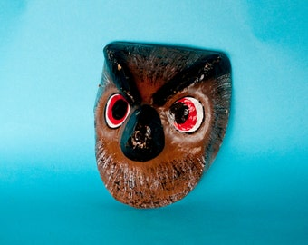 Traditional Mexican paper mache mask owl