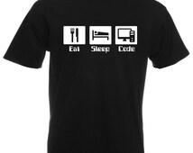 Mens T-Shirt with Quote Eat Sleep Code Design / Programmer Inspirational Shirts / Motivational Developer Shirt + Free Random Decal