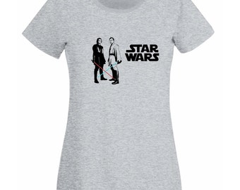 Womens T-Shirt Star Wars  / Obi Wan Kenobi & Anakin Skywalker with Lightsaber Shirts / Young Jedi knight Ready for Battle + Free Decal Gift!