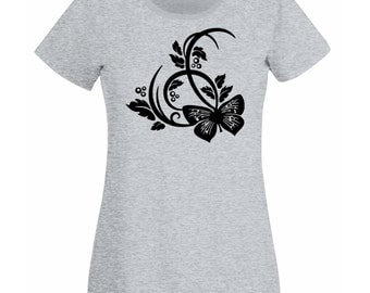 Womens T-Shirt with Beautiful Butterfly Design / Butterflies Shirts / Nature Abstract Shirt + Free Random Decal Gift