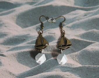 Geometric Pearl and seaside charm earrings